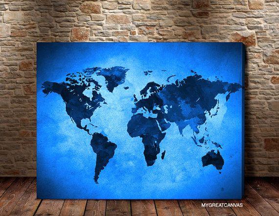 Canvas Print Blue World Map  Art Canvas World Map by ArtPhotoPrint