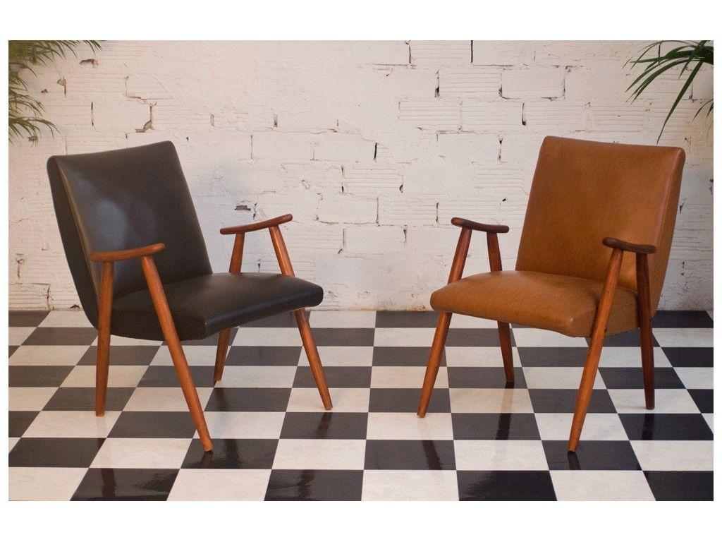 Fauteuil Vintage Annees 50 1950 Meubles 1950 Authentique Original Simili Cuir Noir Armchair Vintage 50s Furniture Furniture Design