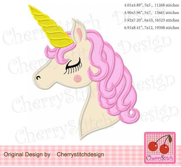 Unicorn Applique, Unicorn With Long Eyelashes Machine