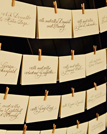 Escort Cards    Guests found their seats with the help of beautifully calligraphed escort cards.