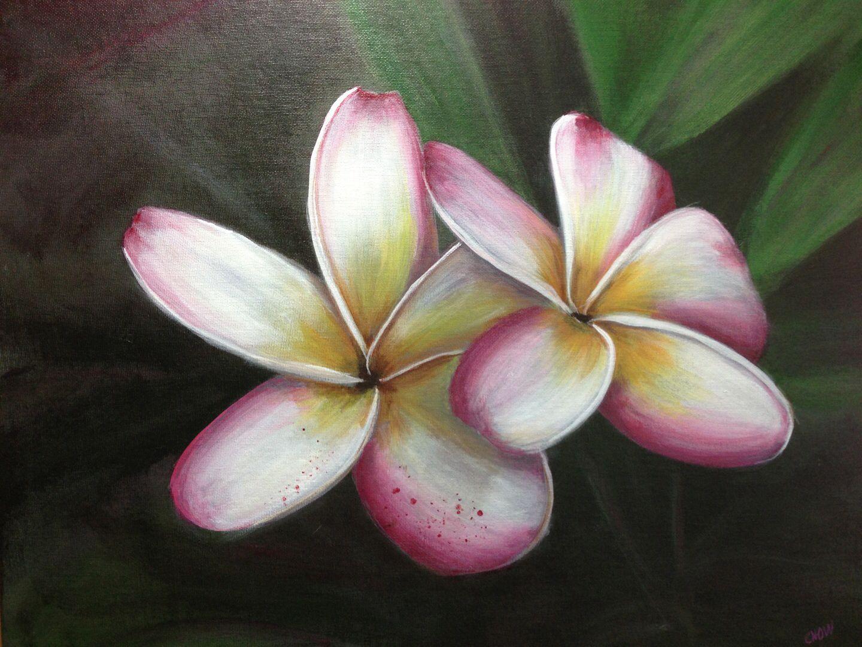 Acrylic Painting Plumeria Flower Art Blue Canvas Art Dandelion Painting