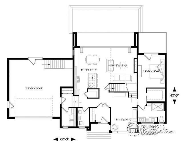1st Level Modern Cubic House Plan, Master Suite, 4 Bedrooms, Open Floor Plan