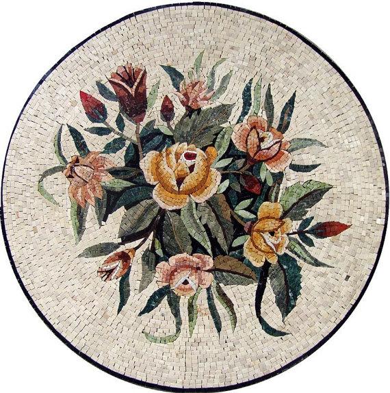 Flores Medalllion mosaico de mármol