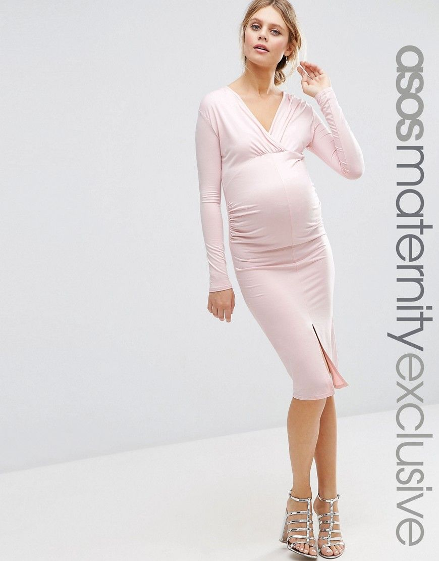 3162cd74385 Image 1 of ASOS Maternity Ruched Midi Dress With Long Sleeves And Split