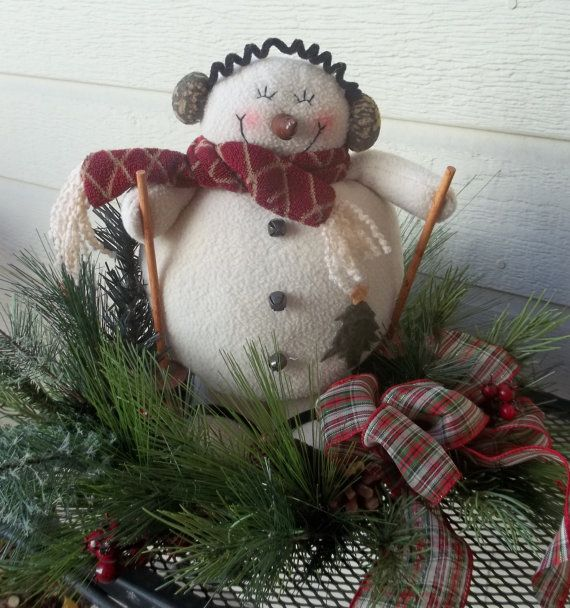 Snowman arrangementwinter by allwaysbloomindesign on Etsy