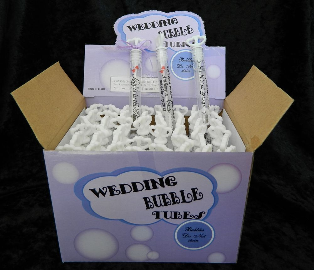 Double Heart Wedding Bubble Tube Wands With Personalised Labels X 84