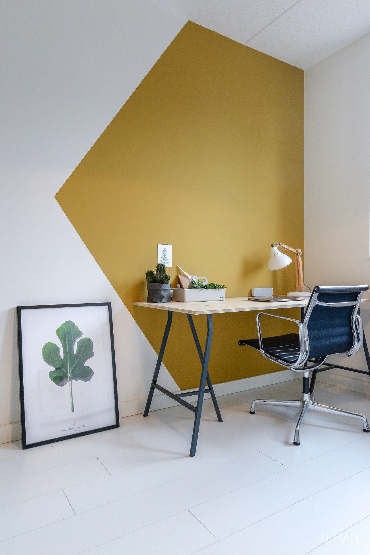 Wand inspiratie | Geometrisch vlak om werkplek af te bakenen ...