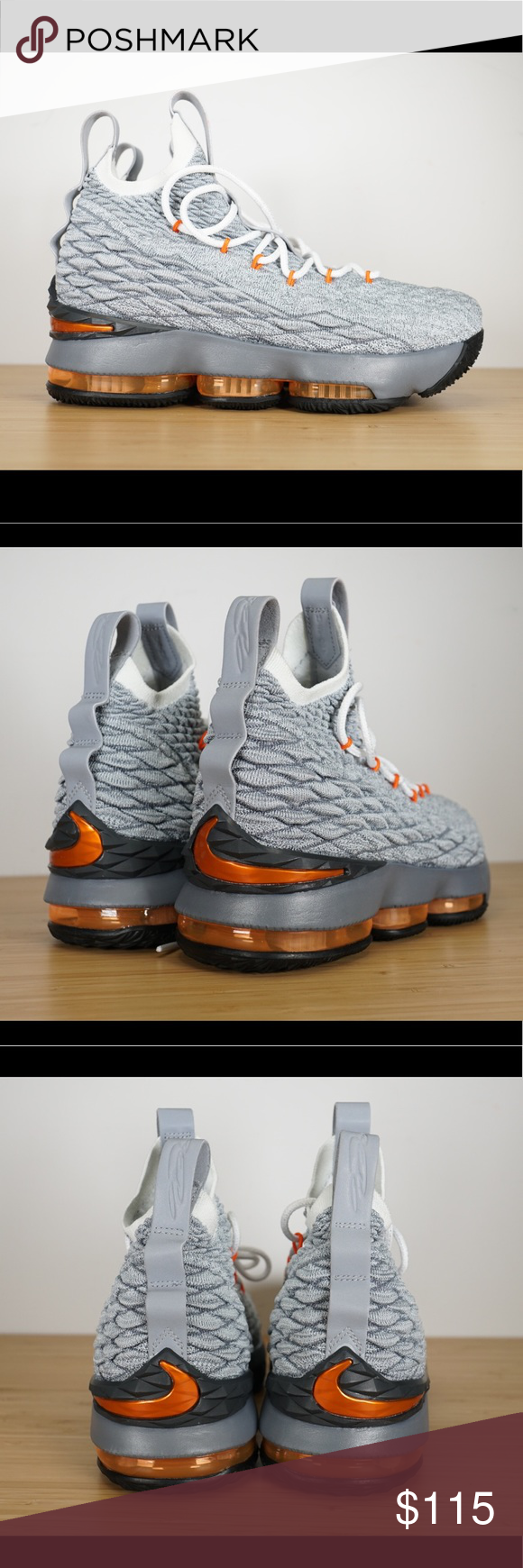 d490d48f54484 Nike Lebron XV 15 GS Basketball Shoes Gray Orange Nike Lebron XV 15 (GS)  Basketball Shoes Style  922811-080 Color  Grey Safety Orange Size 7Y Brand  New in ...