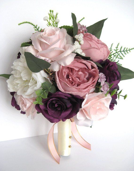 Wedding Bouquet, 17 piece Bridal Bouquet set, Wedding flowers  MAUVE PLUM Pink BLUSH Eggplant Silk flower Bouquet package RosesandDreams #pinkbridalbouquets