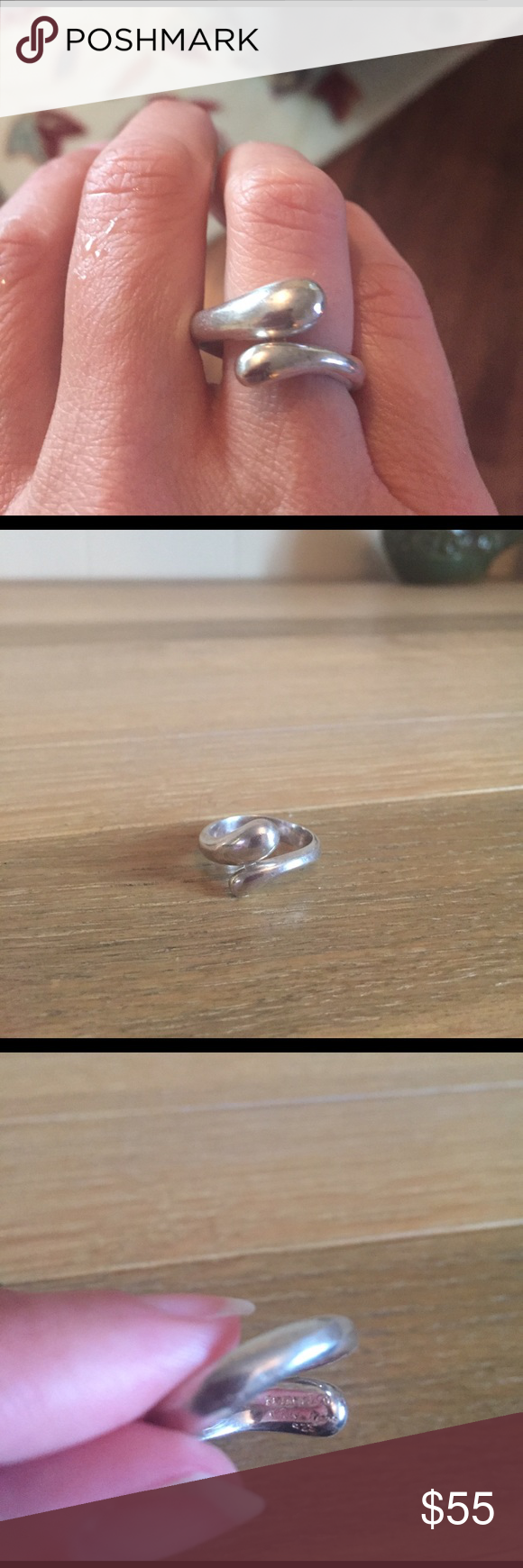 Tiffany & co teardrop ring Preowned. Light scuffing and some tarnish. Approx size 5 but slightly adjustable. From the Elsa Peretti collection. Marked Tiffany & Co .925. Does not come with pouch. Price firm Tiffany & Co. Jewelry Rings