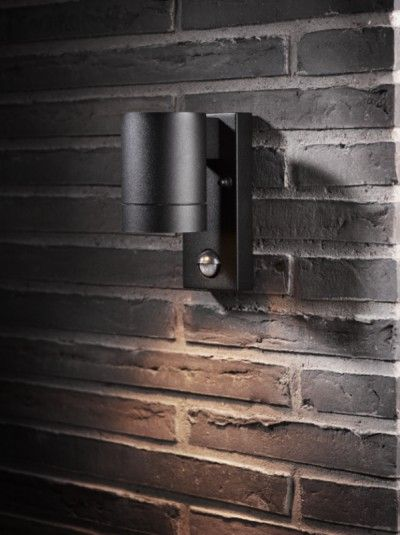 Exterior Black Down Light With Pir Wall Lights Outdoor Wall