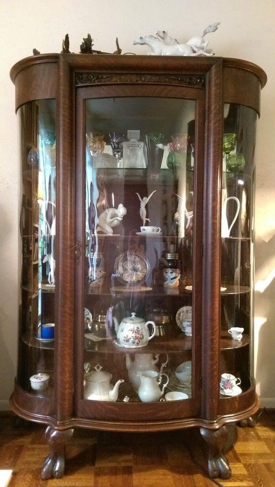 Vintage Furniture Glass Living Room Showcase Design Wood: Details About Antique Wooden Curved Glass Display Cabinet