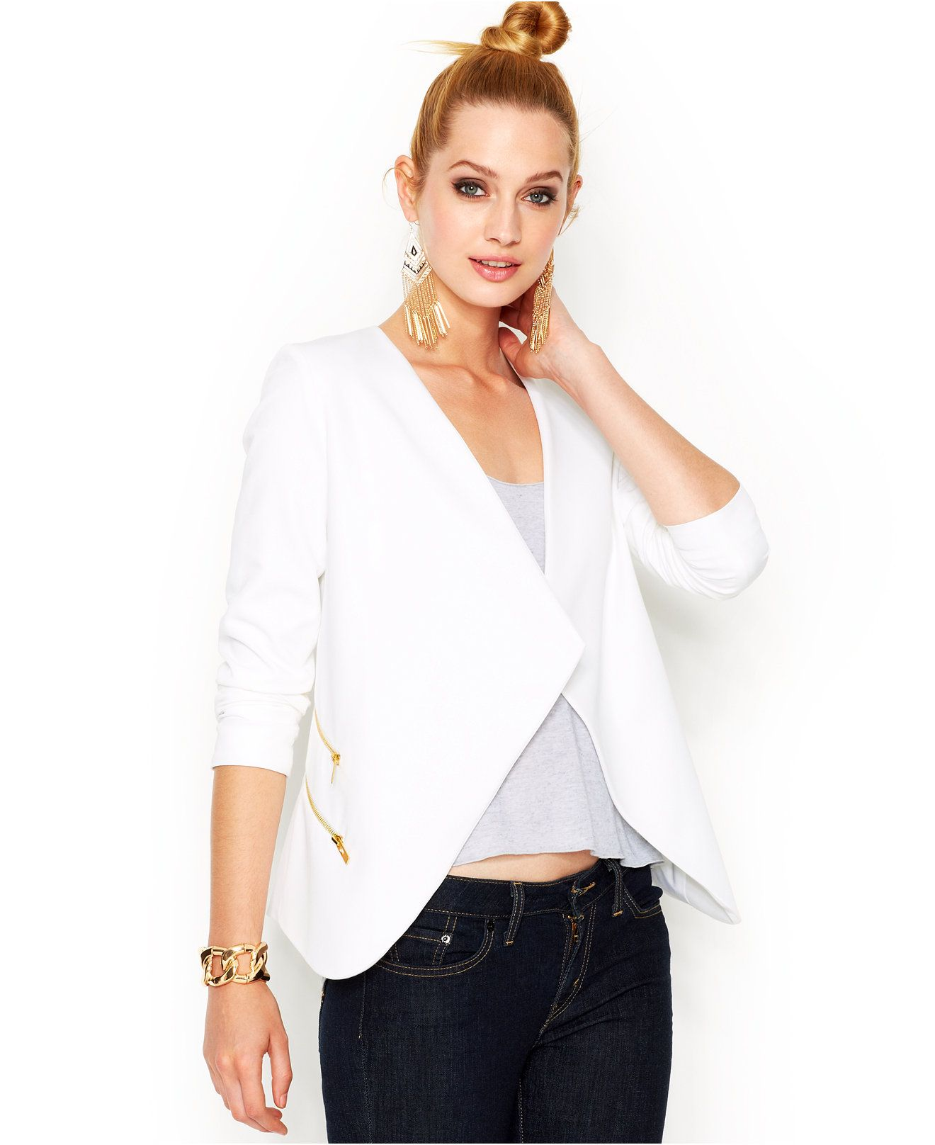 Bar III Long-Sleeve Draped Blazer - Blazers - Women - Macy's