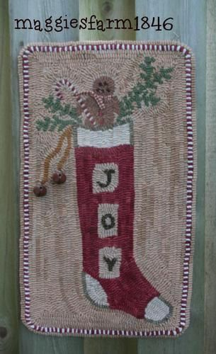 Primitive Hooked Rug Maggiesfarm1846 Prhg Usaprim Christmas Joy To You Ebay