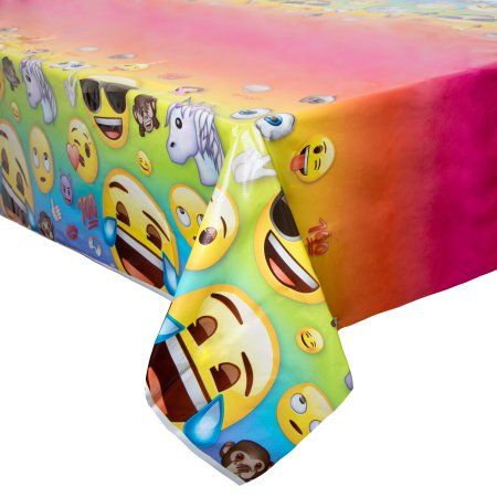 Plastic Emoji Table Cover 84 X 54 Walmart Com Emoji Party Supplies Emoji Birthday Party Table Covers