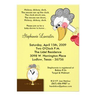 Hickory Dickory Mother Goose Nursery Rhyme Baby Shower Invitation