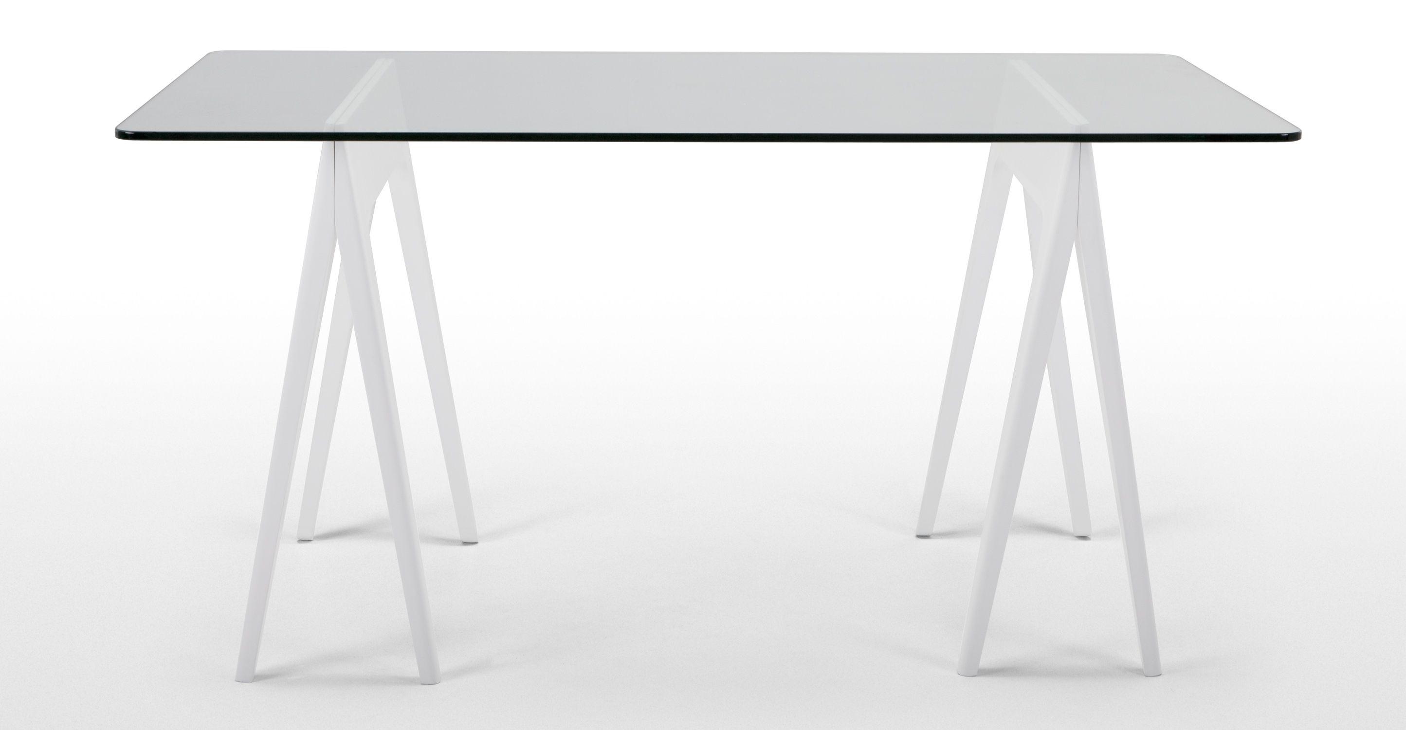 Morton Une Table En Verre Sur Tr Teaux Blanc Trestle Tables  # Meuble Tv Treteaux