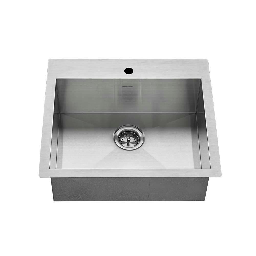 American Standard Edgewater Zero Radius Dual Mount Stainless Steel 25 In 1 Hole Single Bowl Kitchen Sink Kit 18sb9252211 075 Steel Kitchen Sink Sink Drop In Kitchen Sink