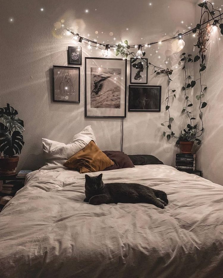 Artificial Frosted Ivy Vine Real Touch Garland Bohemian Master Bedroom Cozy Room Room Inspiration Bedroom