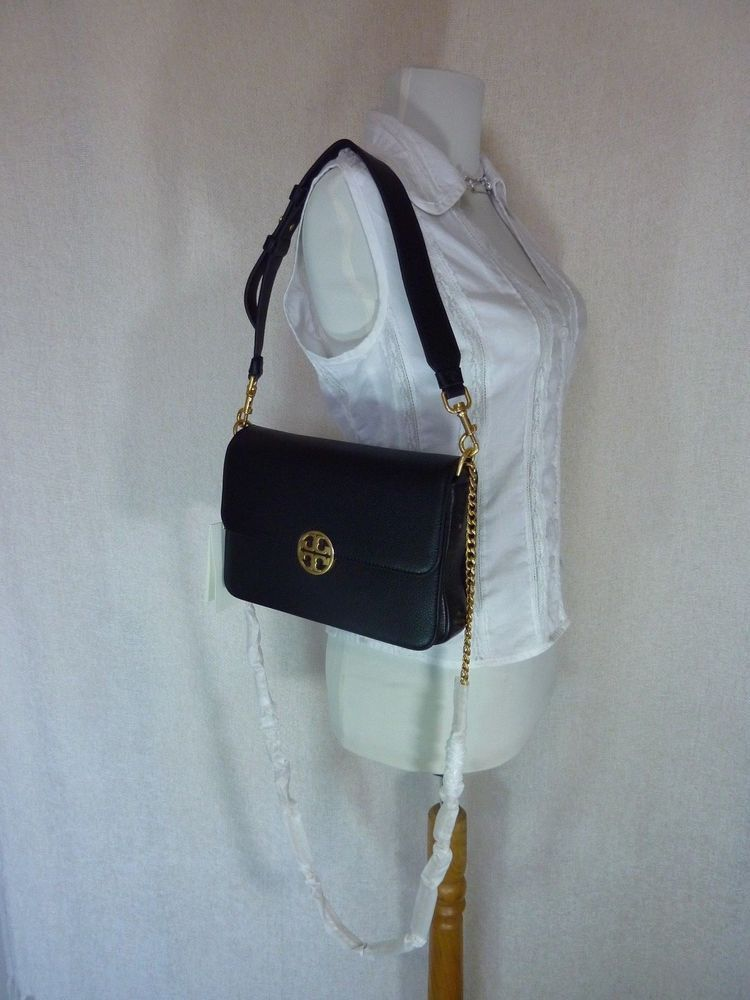 NWT Tory Burch Black Chelsea Chain Pouch $228
