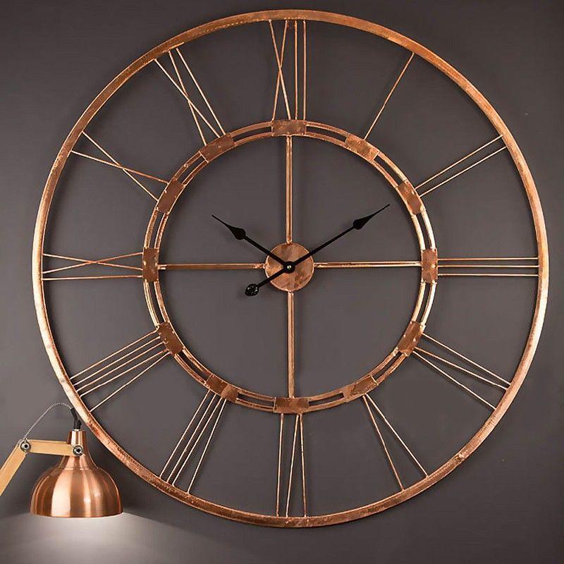 Handmade Large Copper Color Wall Clock Metal Home Decor Hanging Decorative Wall Sculpture Metal Wall Clock Large Wall Clock Clock Wall Decor