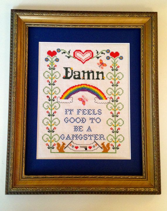 Gangster Rap Cross Stitch Sampler
