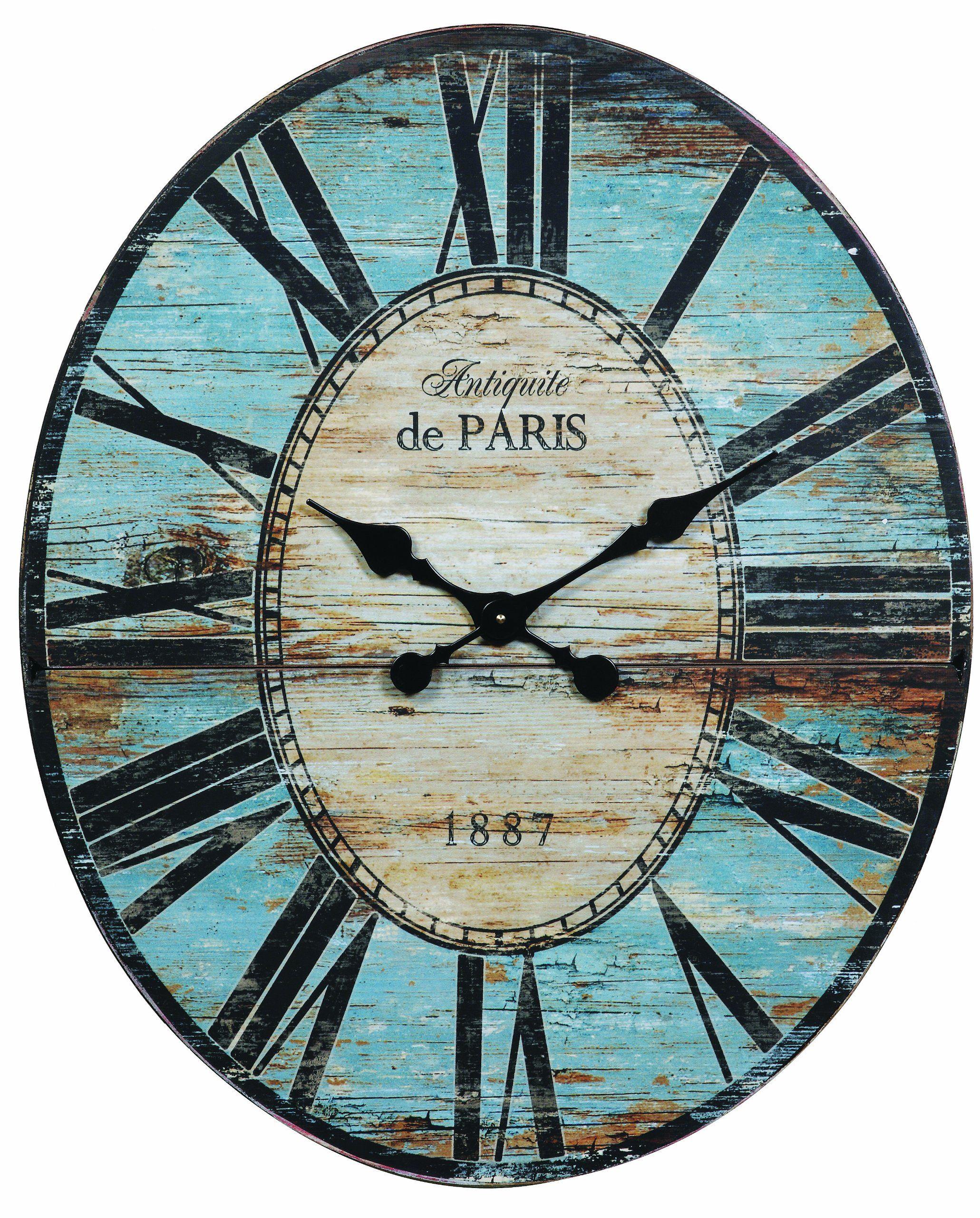 Amazon Com Creative Co Op Antiquite De Paris Wood Oval Wall Clock 29 5 By 24 1 4 Inch Wall Clocks Large Paris Wall Clock Oversized Wall Clock Wall Clock