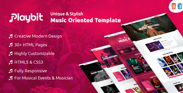 Playbit - Bootstrap Music Template • Download theme ➝… | HTML