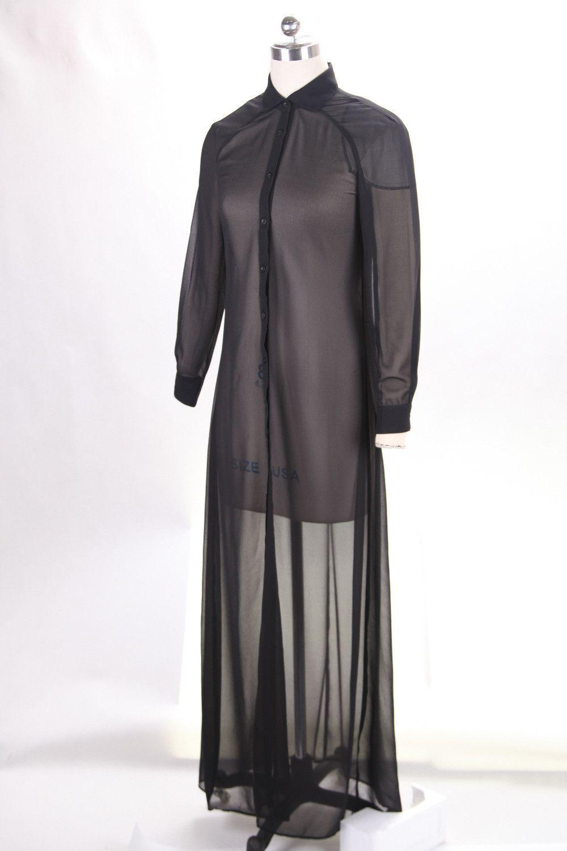 Preself summer style maxi dress shirt wrap dress cardigan with long