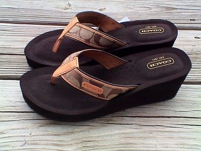 NIB COACH JULIET signature sandals flip flops wedges heel