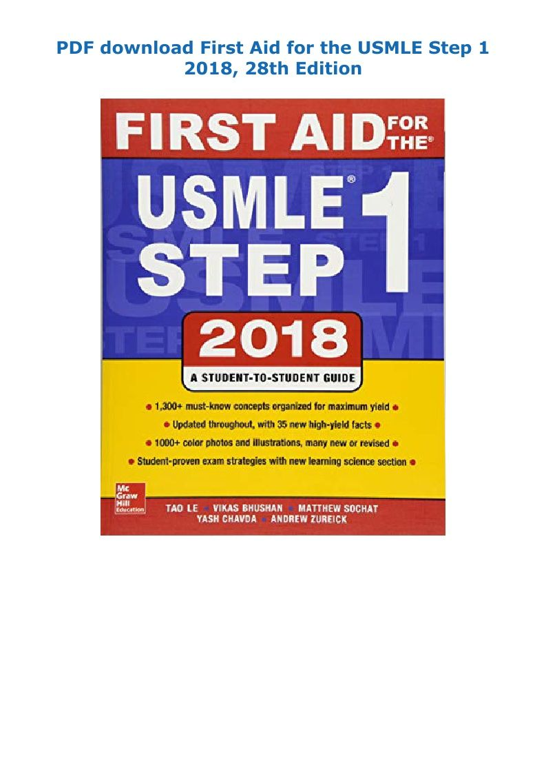 Pdf Download First Aid For The Usmle Step 1 2018 28th Edition