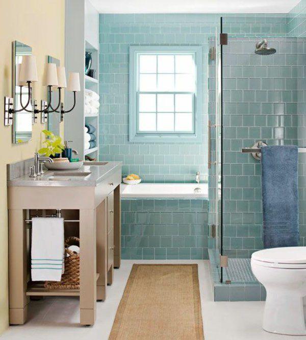 Kleines Badezimmer Grüne Fliesen Hellgelbe Wand | Blue Floor ... Kleines Badezimmer Fliesen