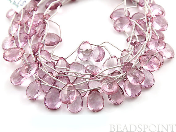 Natural Pink Topaz Micro Faceted Medium Flat Pear by Beadspoint, $21.99