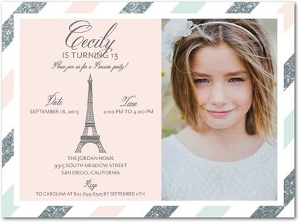 French Spirit Birthday Party Invitations In Chenille - Invitation in french to birthday party