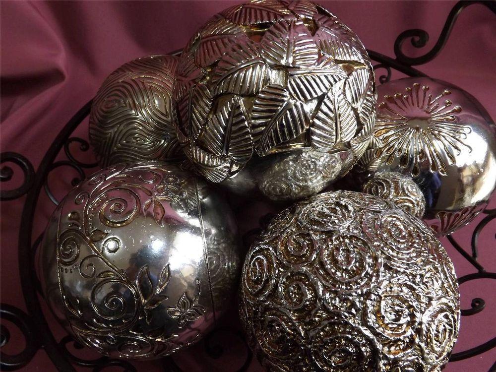 Silver Decorative Balls New Stylish Decorative Balls Silver & Gold Tinge Large X 6 New