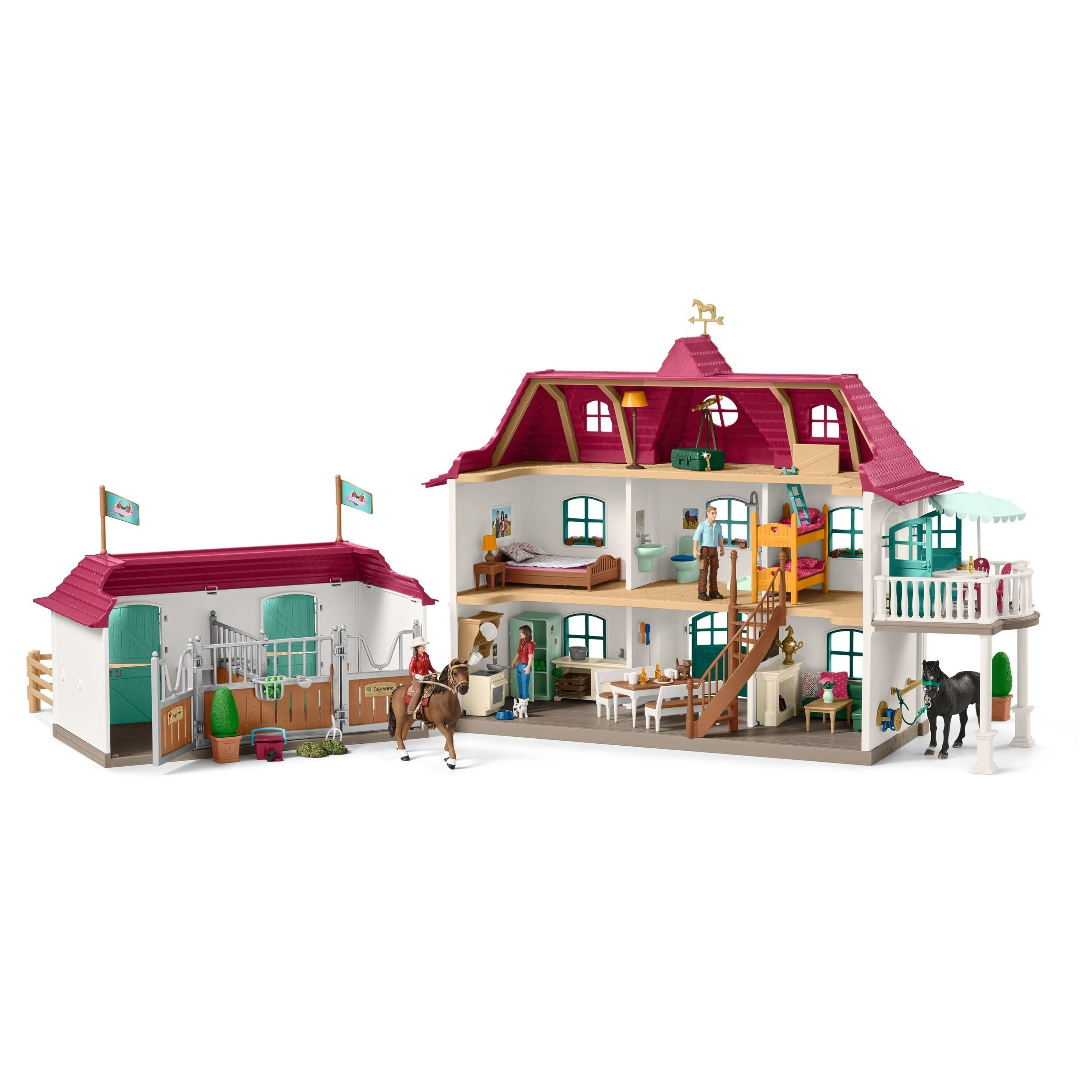 Schleich Horse Club Large Horse Stable With House Stable Playset And Toy Figures In 2020 With Images Kone