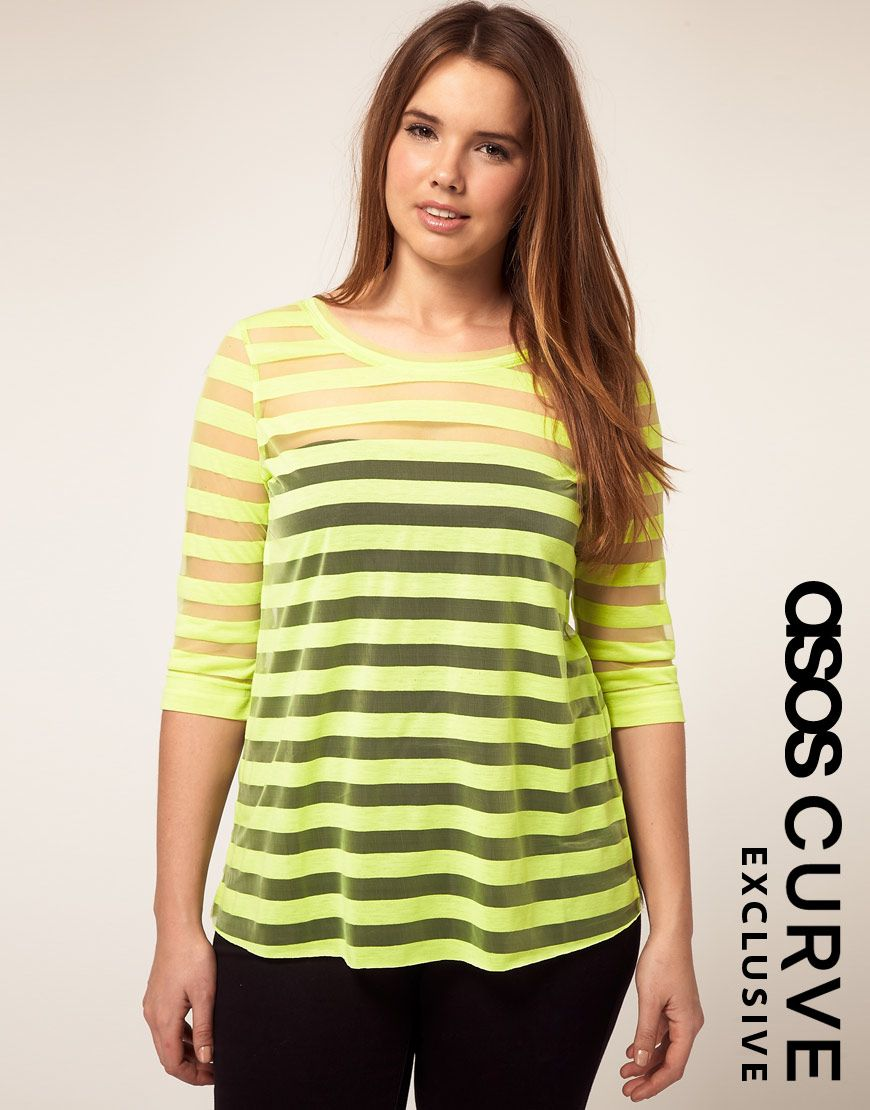 b4295da3bcd7b ASOS Curve Mesh Striped Top. Love the Neon-- it appeals to the 80s child in  me!