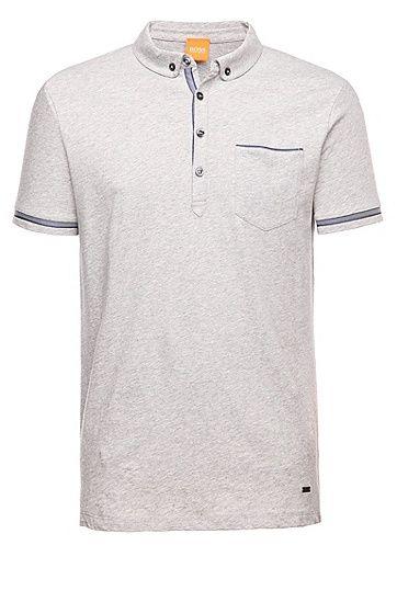 a585504fe2 Pioli' | Regular Fit, Cotton Herringbone-Trim Polo Shirt, Light Grey ...