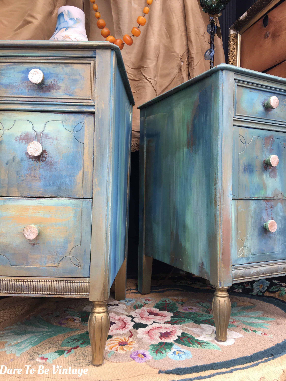 Sold Painted Vintage Nightstands Bohemian Blue Nightstands