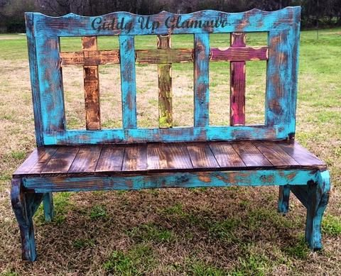Rustic Handmade Three Cross Bench In Turquoise And Brown Stain Rustic Furniture Distressed Furniture Rustic Furniture Diy
