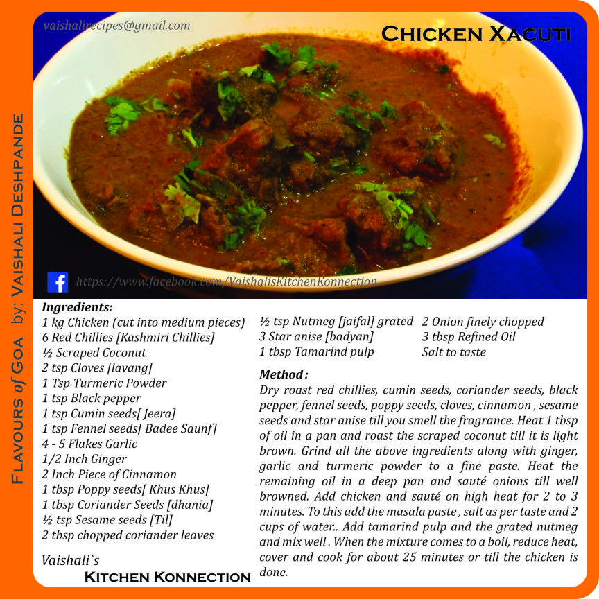 Chicken xacuti goan cuisine pinterest cuisine indian cuisine chicken xacuti forumfinder