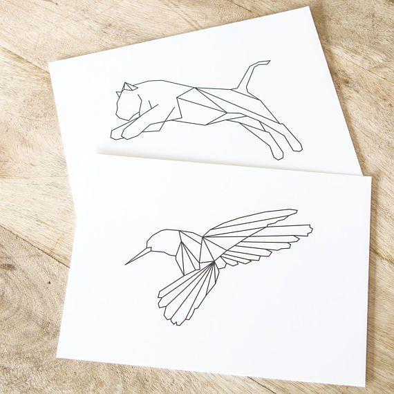 "Graphic animals ""Tiger"" and ""Hummingbird"" Art prints - designed by Dieuwertje van der Linden"