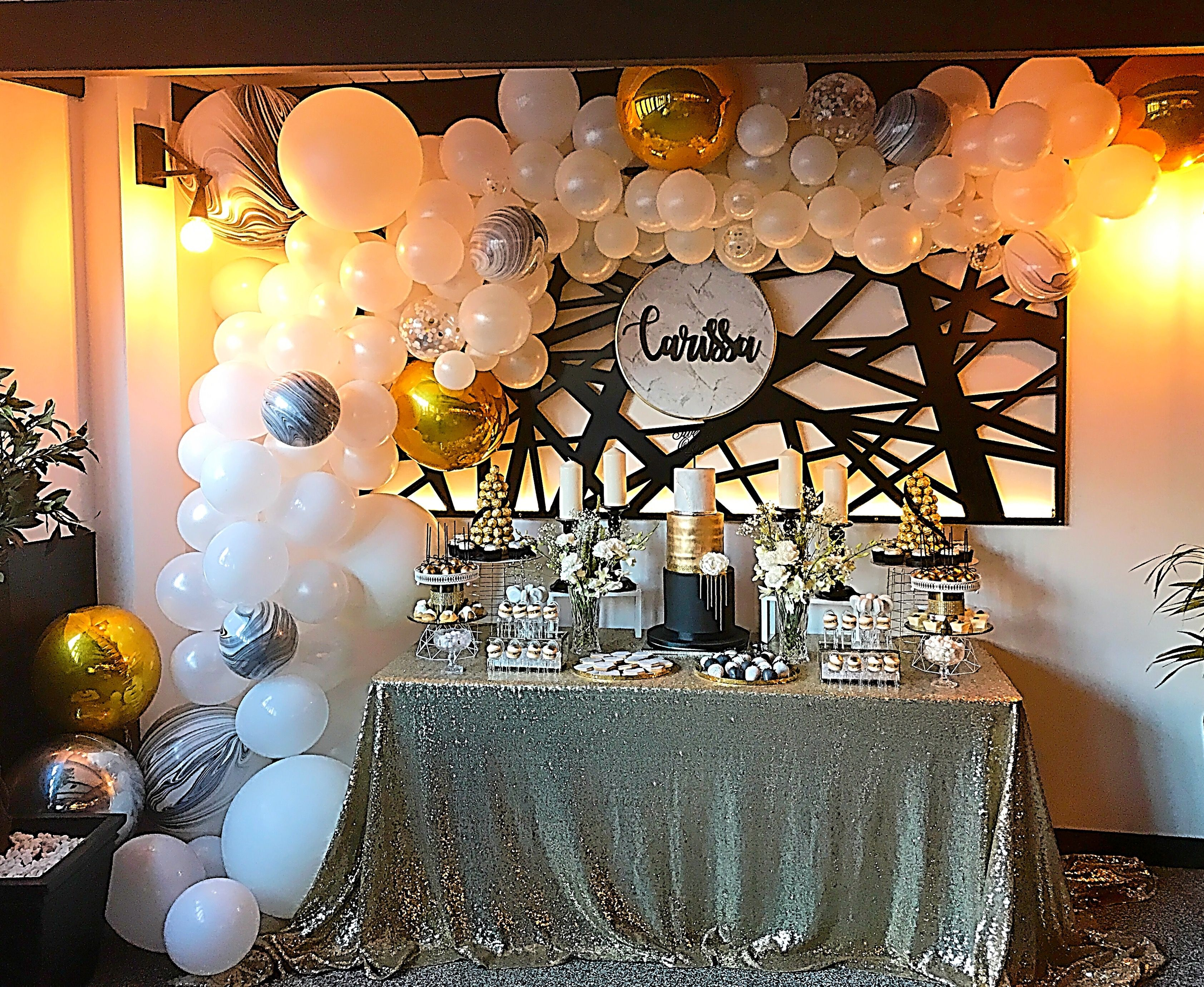 Black Gold And Marble Balloon Garland 21st Backdrop And Dessert