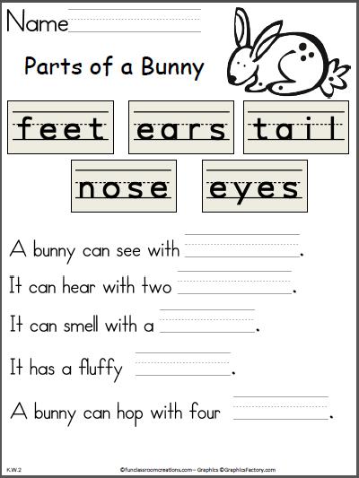 parts of a bunny writing activity pre k kindergarten worksheets easter worksheets. Black Bedroom Furniture Sets. Home Design Ideas