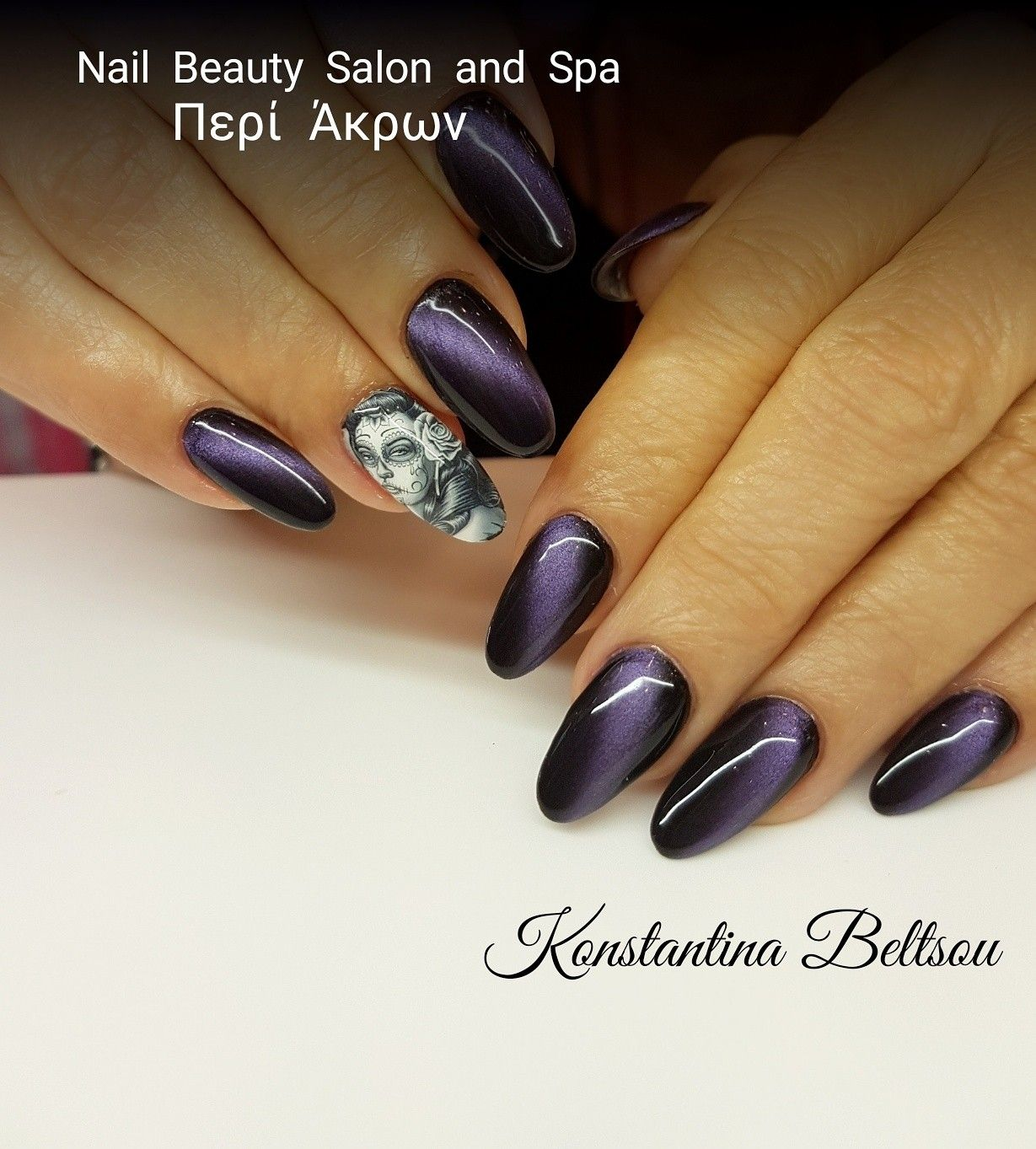 Acrylic nails, long almond nails with gel polish, cat eye effect and ...