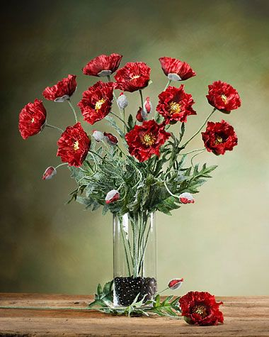 Poppy silk flower stem home ideas pinterest silk flowers silk poppy silk flower stem wine mightylinksfo