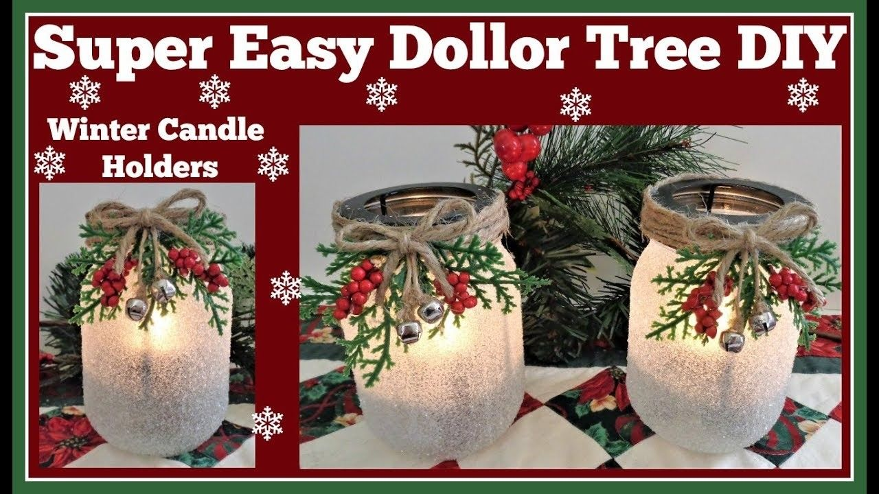 Winter candle holder easy dollar tree diy sparkling christmas