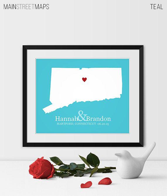 Connecticut Map Art, Connecticut Wedding Gift Connecticut State Map Connecticut Gift - Any STATE