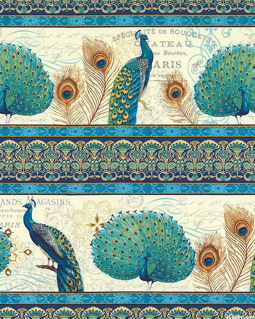 Majestic Beauties - Peacock Stripes - Cream | Wallpaper