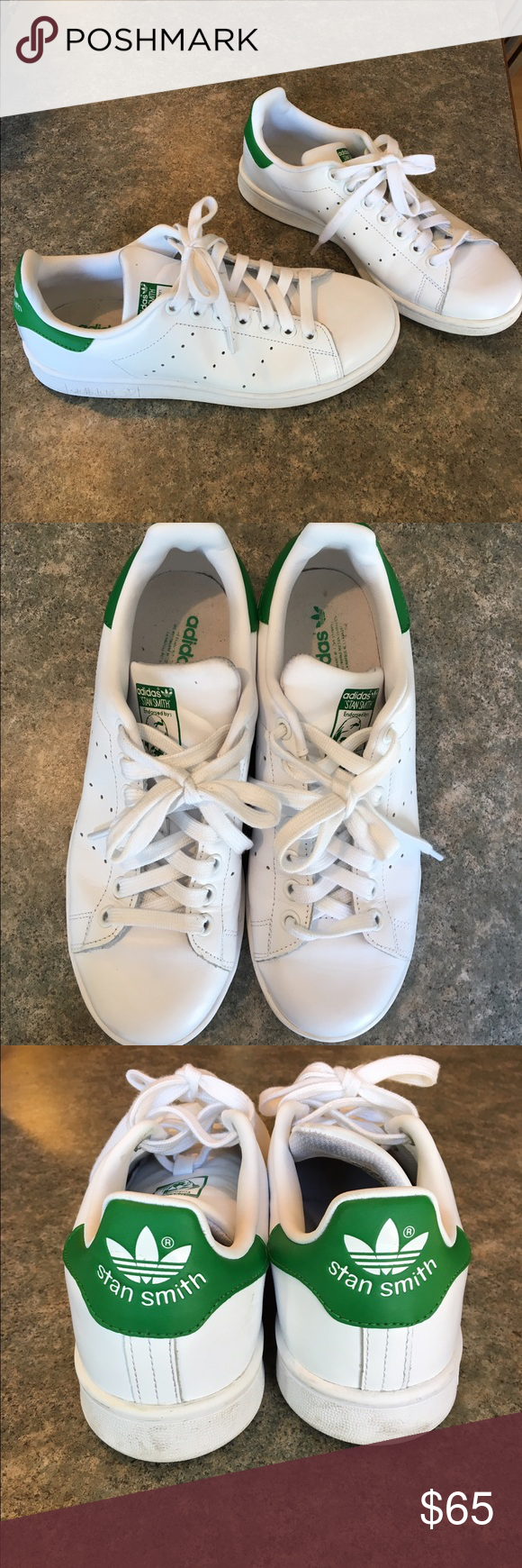 Stan Smith Adidas white & green tennis shoe size 6 Adidas Stan Smith tennis shoes size 6 but I'm an 8 and they fit me perfectly. Adidas Shoes Athletic Shoes